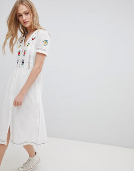Leon and Harper Embroidered Midi Dress with Button Front - White