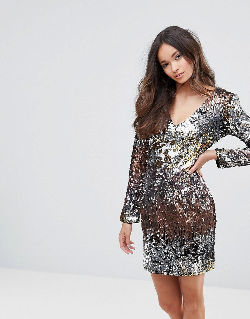 Club L V Neck Ombre Sequin Mini Dress - Multi