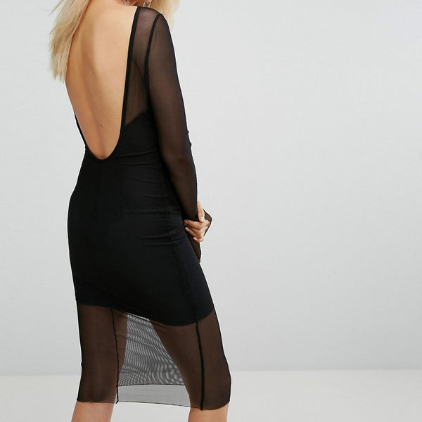 Arrive Scoop Back Mesh Midi Dress - Noir