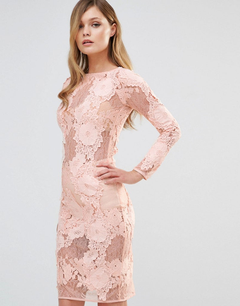 Dark Pink Long Sleeved Lace Midi Dress - Nude