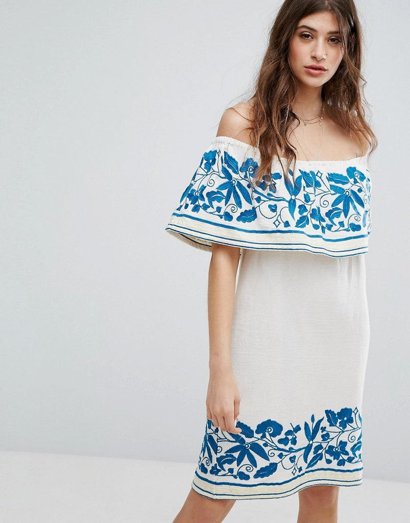 Maison Scotch Boho Off The Shoulder Dress With Embroidery - 17