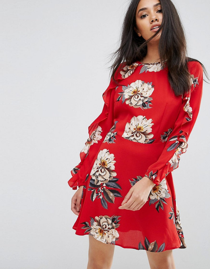 AX Paris Red Floral Skater Dress With Frill Detail - Red