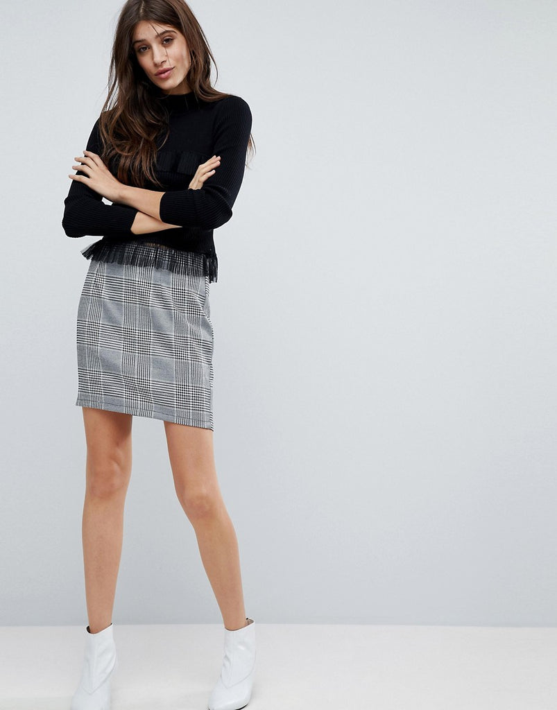 Parisian Check Mini Skirt - Black white