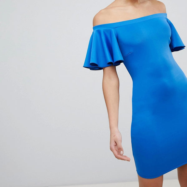 Flounce London Bardot Mini Dress with Fluted Sleeve - Cobalt