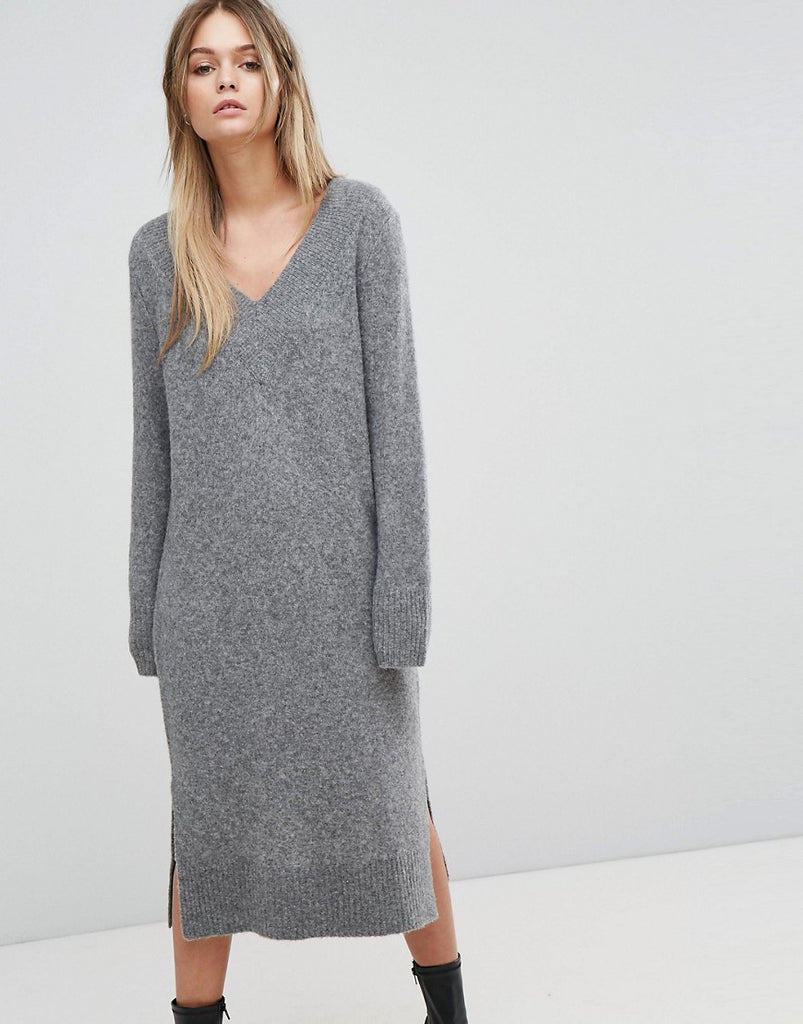 Selected Knitted Deep V-Neck Dress - Grey
