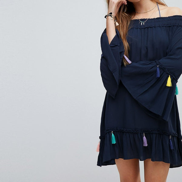 Surf Gypsy Navy Tassel Beach Cover Up - Navy