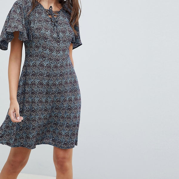 Rage Lace Up Front Frill Sleeve Dress - Multi