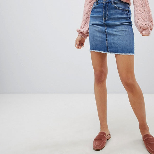 Pieces Denim Mini Skirt - Light blue