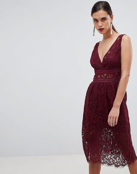 Y.A.S Lace Skater Dress - Burgundy