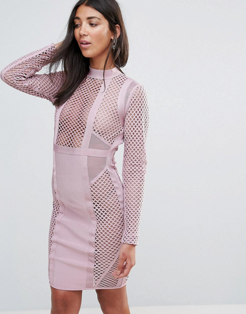 Amy Lynn Occasion Long Sleeve Panelled Bandage Dress - Dusky pink