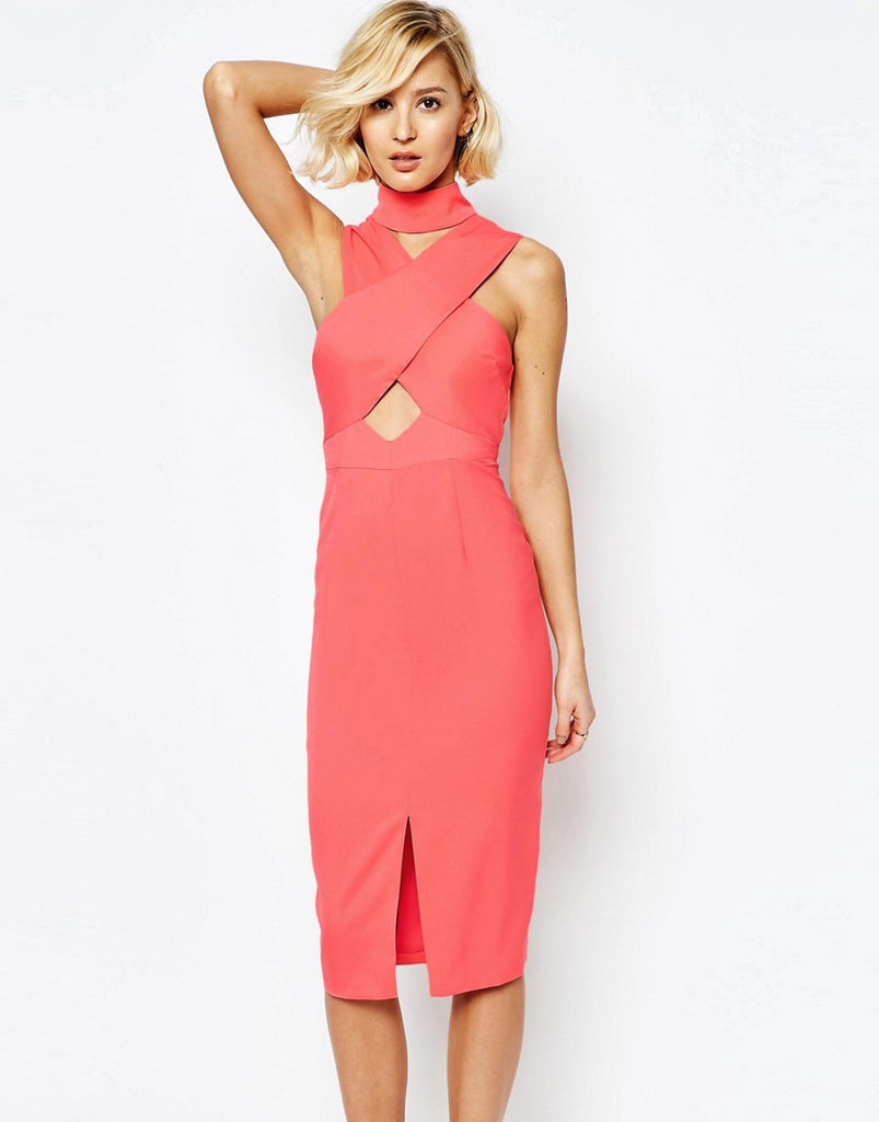Lavish Alice High Neck Cut-Out Detail Centre Split Midi Dress - Georgia peach