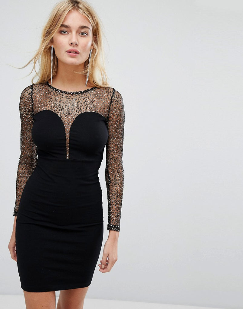 Motel Bodycon Dress With Plunge Front And Sparkle Mesh Top - Black