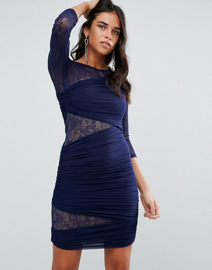 Forever Unique 3/4 Sleeve Bodycon Dress With Lace Panel - Navy