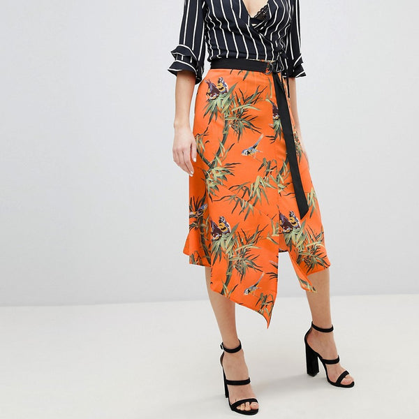 Warehouse Barbican Collection Songbird Print Wrap Skirt - Orange base