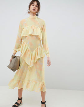ASOS WHITE Printed Chiffon Maxi Dress - Yellow
