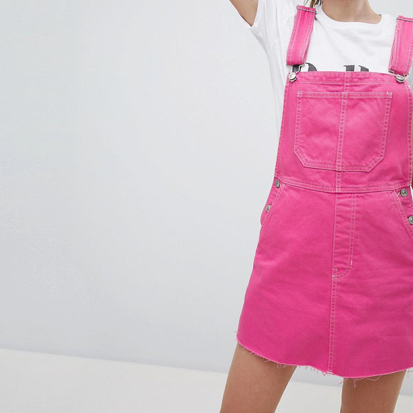 Bershka dungaree dress in pink - Pink