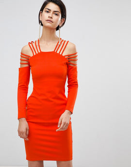 Forever Unique Strappy Shoulder Dress - Orange