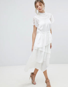 Y.A.S High Neck Lace Midi Dress With Asymetric Hem - White