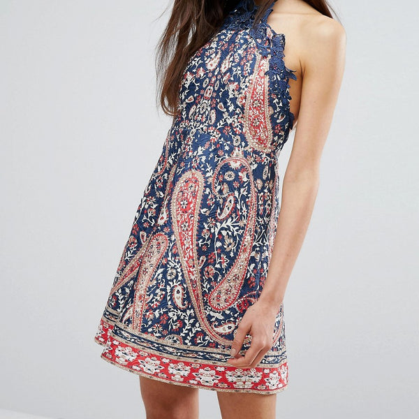 Comino Couture Halter Neck Printed Skater Mini Dress - Blue