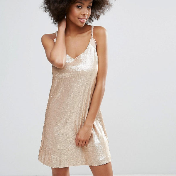 Darling Racer Back Sequin Cami Dress - Rose cloud