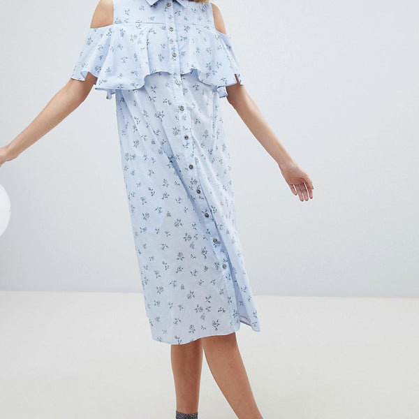 Paul & Joe Sister Ditsy Print Frill Dress - Blue
