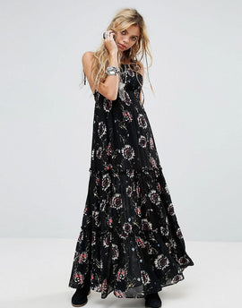 Free People Garden Party Print Maxi Dress - Black combo