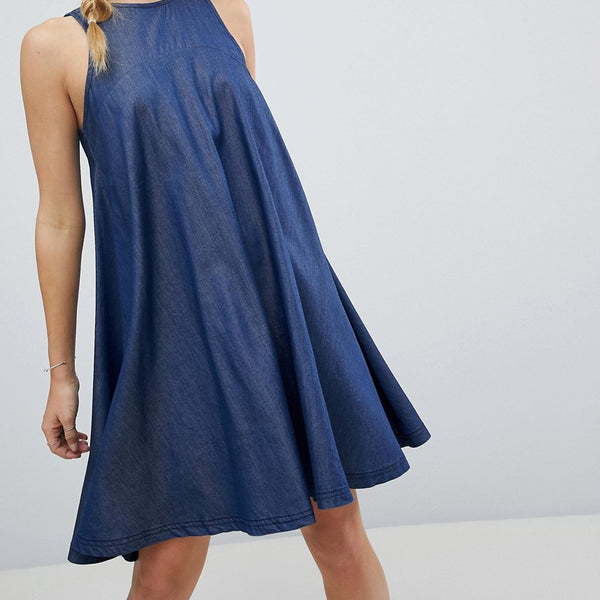 Bellfield Reeka Tencel Blend Trapeze Dress - Denim