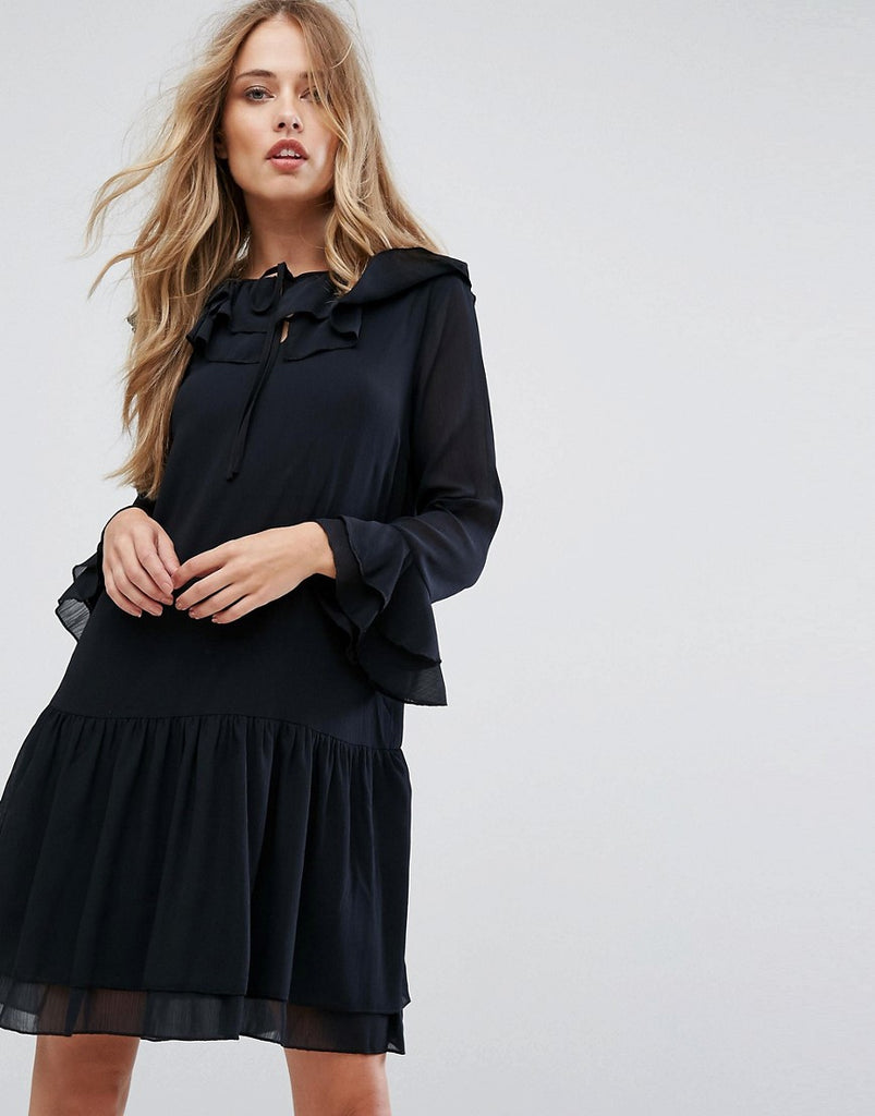 Y.A.S Dropped Hem Chiffon Dress - Black