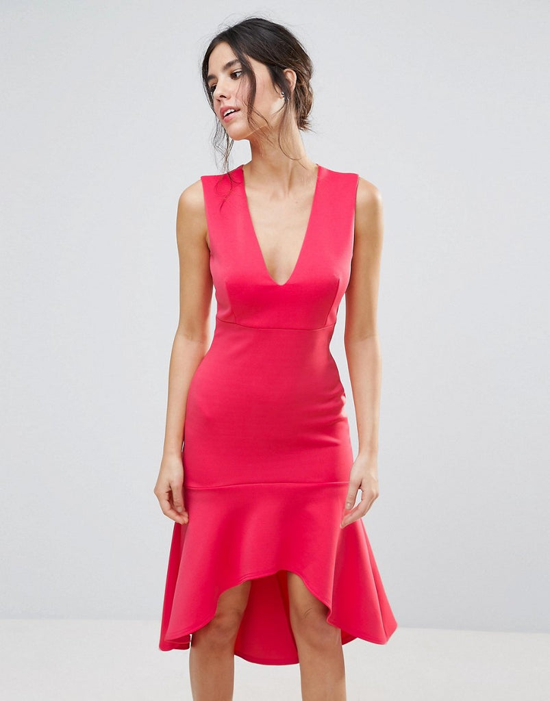 Club L Plunge Neck Dip Hem Dress - Paradise pink