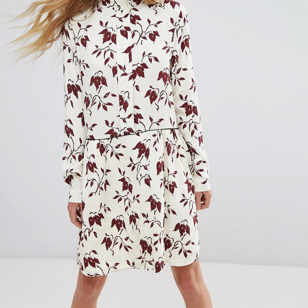 Ganni Maxwell Crepe Print Shirt Dress - Cabernet bell flower