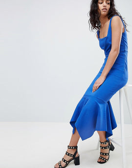 Elliatt Fish Tail Midi Dress - Cobalt