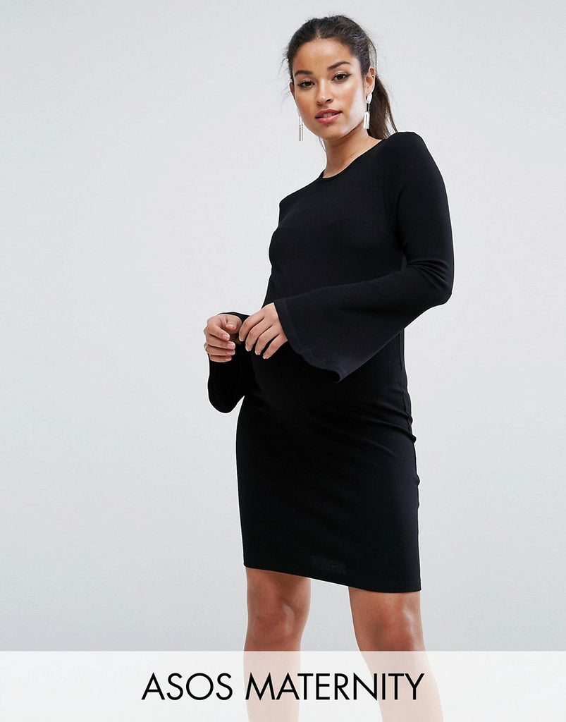 ASOS Maternity Mini Rib Bodycon Dress with Fluted Sleeves - Black