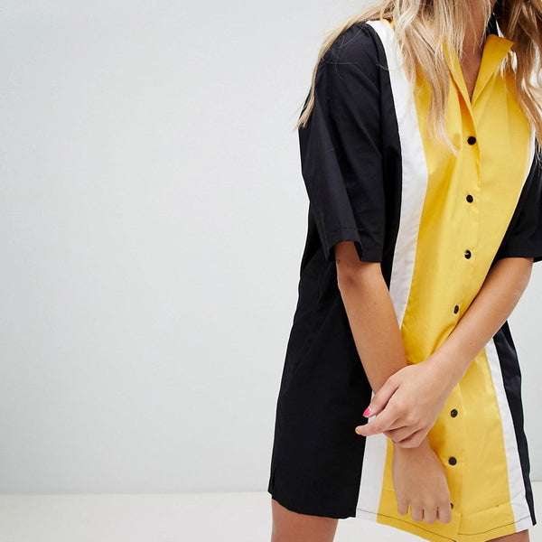 The Ragged Priest bowling shirt dress - Yellow