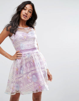 Zibi London Organza Floral Dress With Satin Sash - Lilac