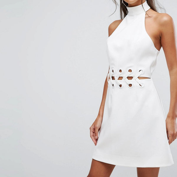 Finders Unbelievers Mini Dress With Lattice Waist Detail - Ivory