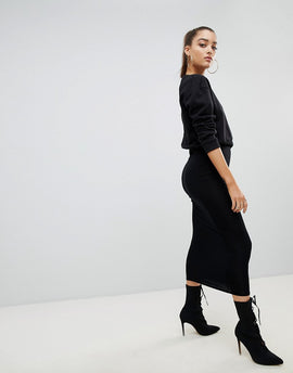 PrettyLittleThing Black Midaxi Skirt - Black