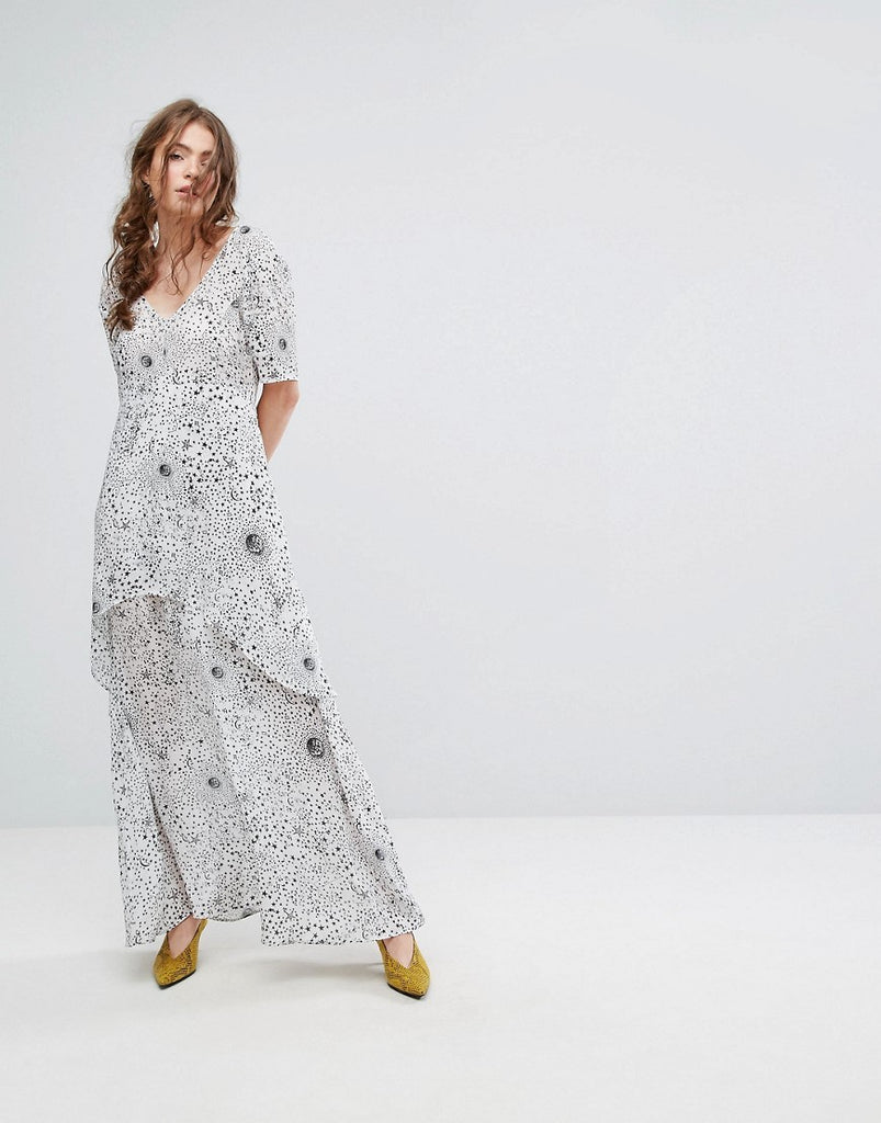 Lily and Lionel Tiered Maxi Dress in Celestial Print - White