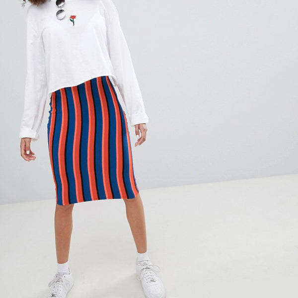 Bershka bright striped midi skirt in multi - Multi