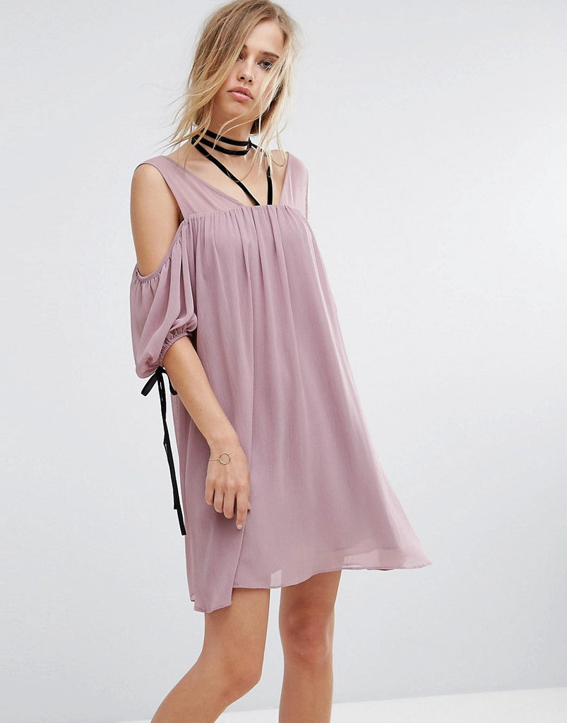Lost Ink Cold Shoulder Dress With Choker - Nude