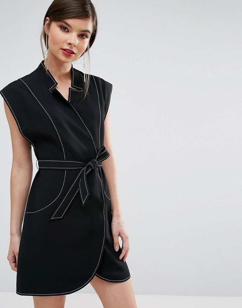 C/Meo Collective Right Now Wrap Mini Dress - Black
