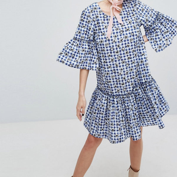 H! By Henry Holland Smock Dress In Floral Ginghm - Blue