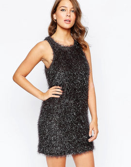 French Connection Tinsel Treat Dress - Silver