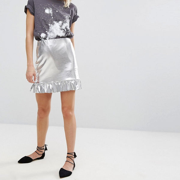 Mango Silver And Frill Peplum Skirt - Silver
