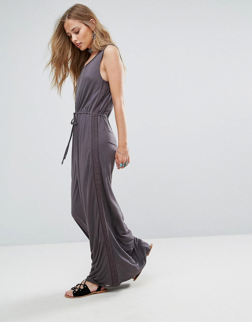 Bellfield Violet Lace and Ladder Maxi Dress - Grey