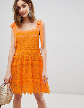 Vero Moda All Over Lace Cami Dress With Tie Straps - Sun orange