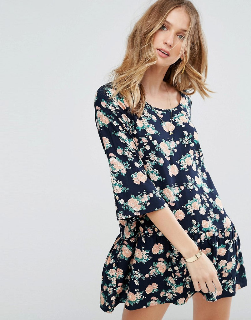 Y.A.S Shanti 3/4 Sleeve Floral Print Dress - Nvy blzr w flower