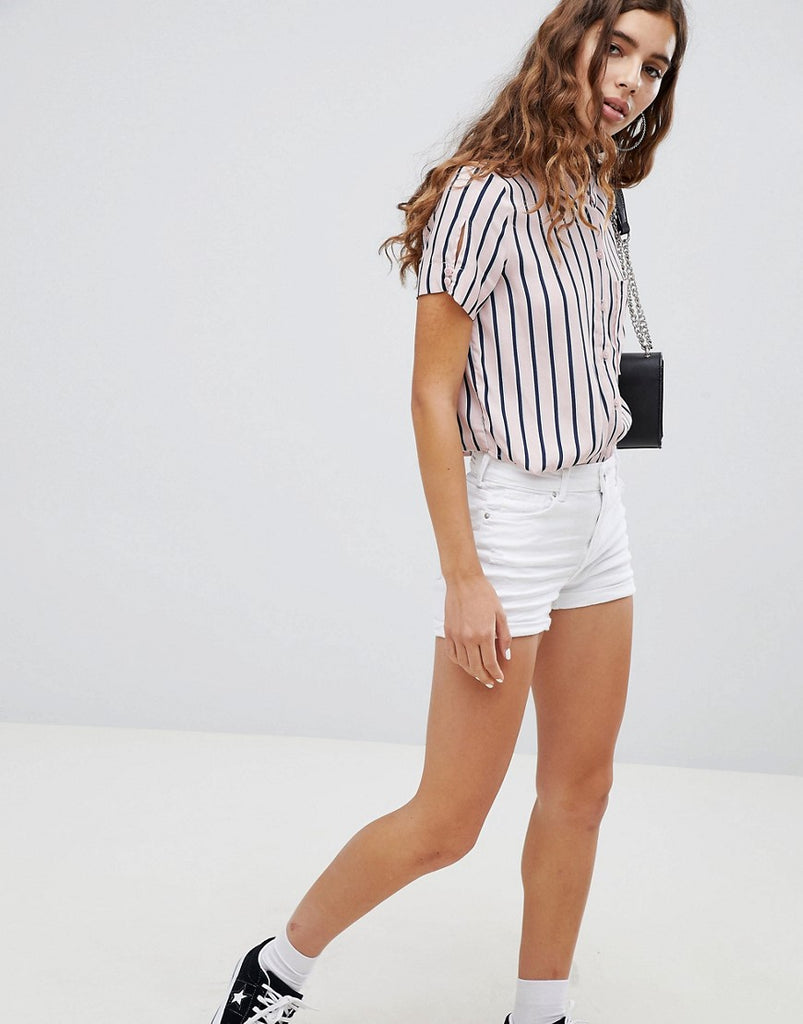 Bershka Distressed Short - White