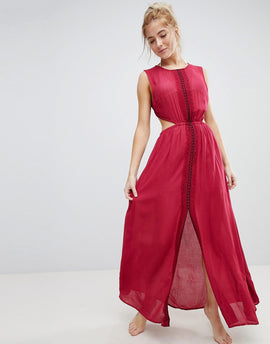 En Creme Maxi Dress With Lace Slits And Embroidery - Wine