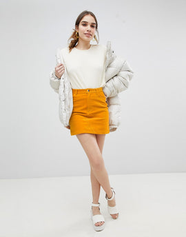 Monki Cord Mini Skirt in Mustard - Yellow