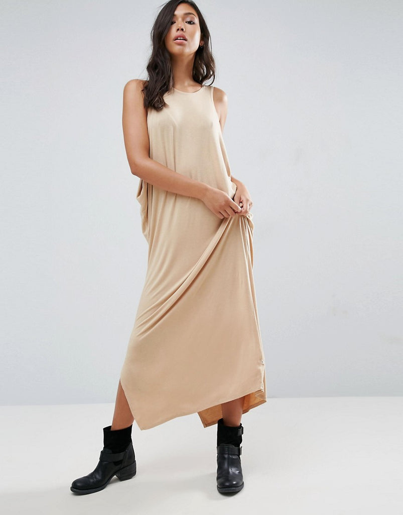 NYTT Low Side Drapey Maxi Dress - Nude